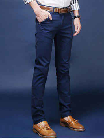 Fancy Mid Rise Pocket Zipper Fly Skinny Chino Pants - 28 ROYAL Mobile