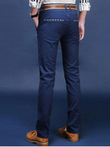 Trendy Mid Rise Pocket Zipper Fly Skinny Chino Pants - 28 ROYAL Mobile
