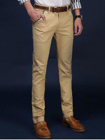 Outfits Mid Rise Pocket Zipper Fly Skinny Chino Pants - 32 KHAKI Mobile