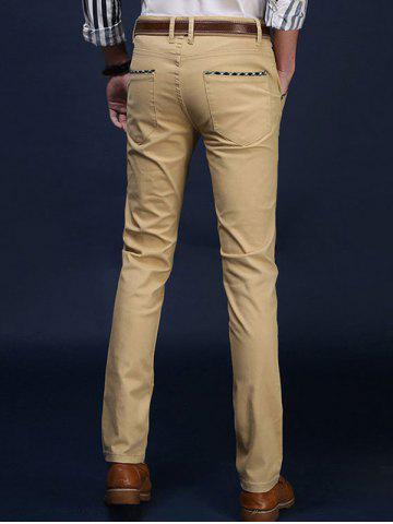 Buy Mid Rise Pocket Zipper Fly Skinny Chino Pants - 29 KHAKI Mobile