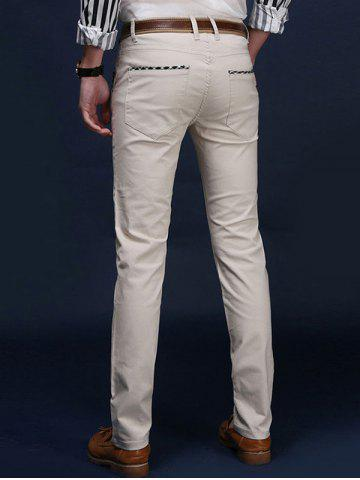 Online Mid Rise Pocket Zipper Fly Skinny Chino Pants - 38 OFF-WHITE Mobile