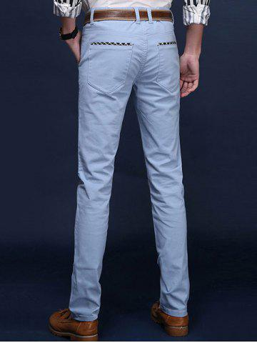 Chic Mid Rise Pocket Zipper Fly Skinny Chino Pants - 32 AZURE Mobile