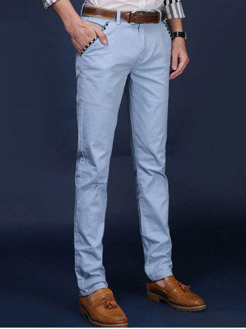 Sale Mid Rise Pocket Zipper Fly Skinny Chino Pants - 32 AZURE Mobile