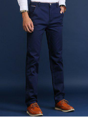 Trimmed Mid Rise Skinny Chino Pants - Royal - 28