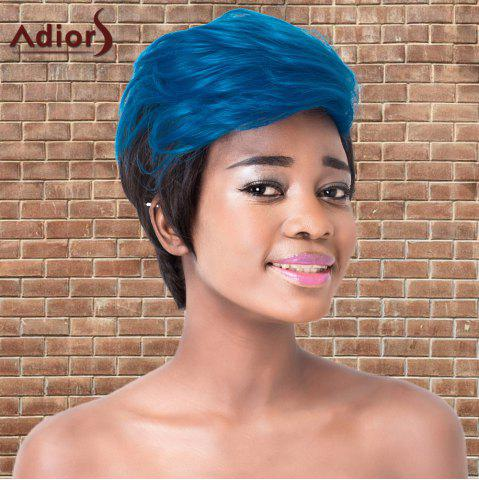 Shops Adiors Short Color Mixed Layered Straight Cosplay Synthetic Wig - BLUE AND BLACK  Mobile