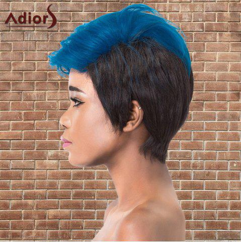 Sale Adiors Short Color Mixed Layered Straight Cosplay Synthetic Wig - BLUE AND BLACK  Mobile