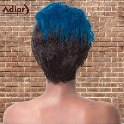 Chic Adiors Short Color Mixed Layered Straight Cosplay Synthetic Wig - BLUE AND BLACK  Mobile