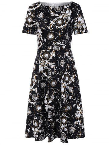 New Retro Boat Neck Paisley Print Dress BLACK 2XL
