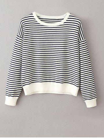Hot Round Neck Jumper Striped Sweater WHITE AND BLACK ONE SIZE