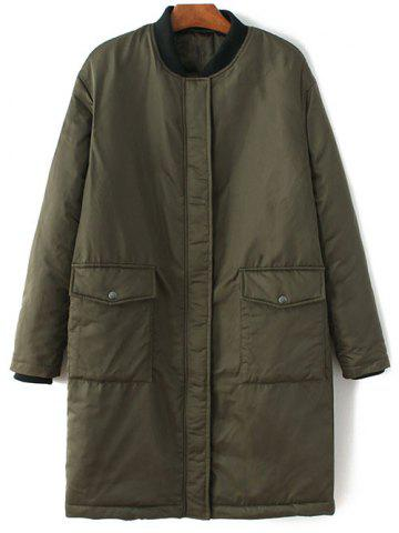 Discount Stand Neck Bomber Padded Coat ARMY GREEN L