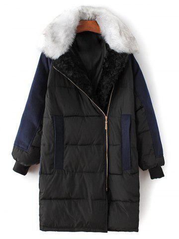 Latest Fur Collar Wool Panel Quilted Coat BLACK L