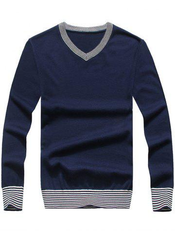 Hot Striped Hem V Neck Pullover Sweater