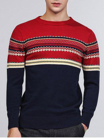 Tribal Pattern Crew Neck Pullover Sweater - Blue - M