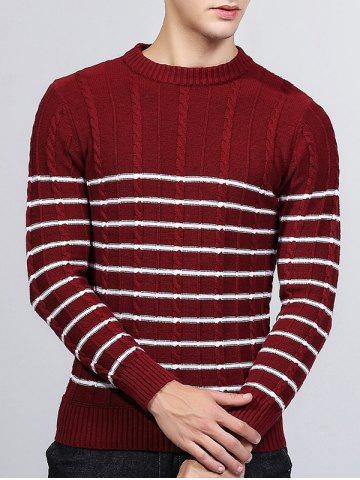Buy Striped Twist Knit Crew Neck Sweater