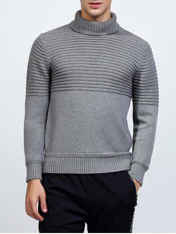 Best Turtleneck Ribbed Pullover Sweater LIGHT GRAY 2XL