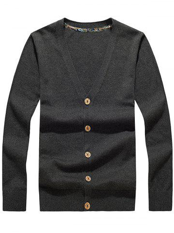 Buy Button Up V Neck Flat Knitted Cardigan DEEP GRAY 2XL