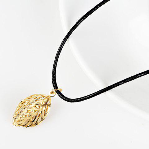 Store PU Leather Rope Rhinestone Leaf Necklace