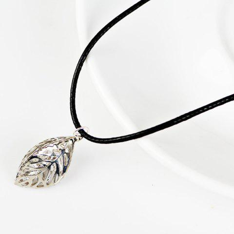 PU Leather Rope Rhinestone Leaf Necklace - Silver
