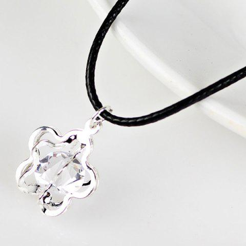 Hot PU Leather Rope Rhinestone Flower Necklace SILVER