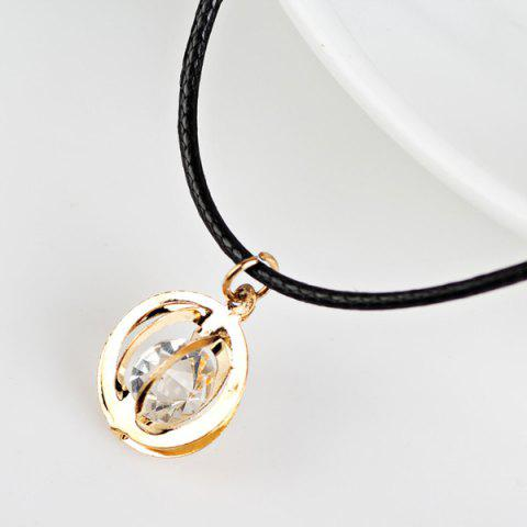 Latest PU Leather Rope Rhinestone Circle Necklace