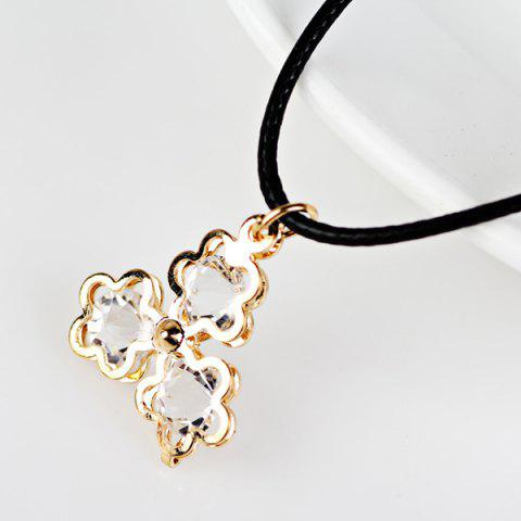 Fancy PU Leather Rope Rhinestone Floral Necklace GOLDEN