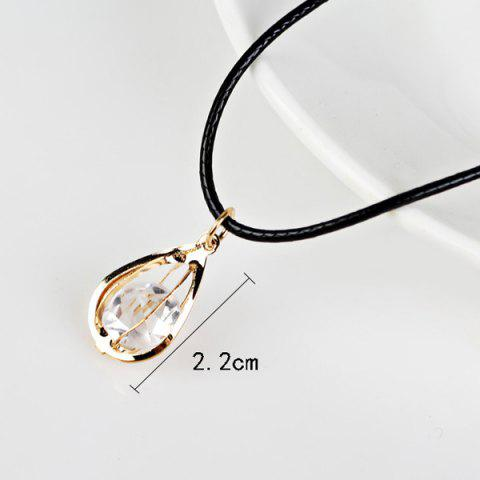 Chic Fake Amber Teardrop Pendant Necklace - GOLDEN  Mobile