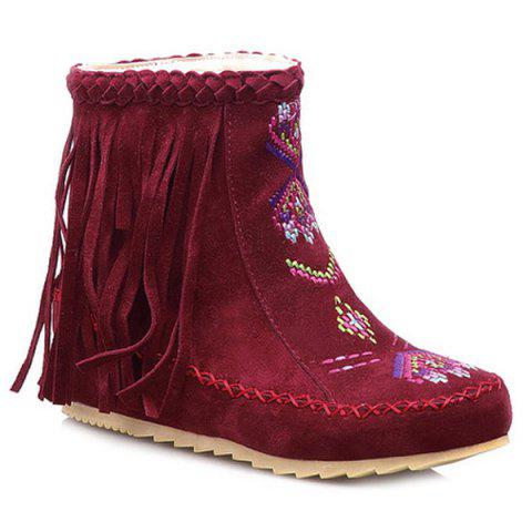 Unique Braid Embroidered Fringe Boots RED 39