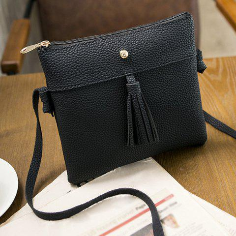 Fashion Tassel Textured PU Leather Cross Body Bag BLACK