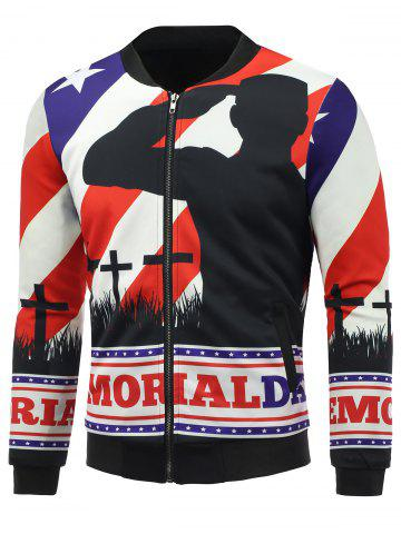 Sale Stand Collar 3D Soldier and Flag Print Zip Up Padded Jacket COLORMIX 5XL