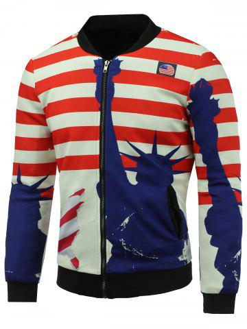 Outfits Stand Collar 3D Statue of Liberty and Striped Print Zip Up Padded Jacket