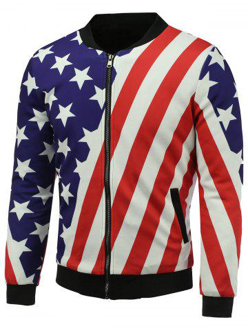 Outfits Stand Collar 3D Stars and Stripes Print Zip Up Padded Jacket COLORMIX 5XL