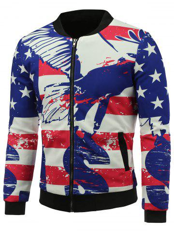 Outfits Abstract Distressed American Flag Print Padded Jacket COLORMIX 5XL
