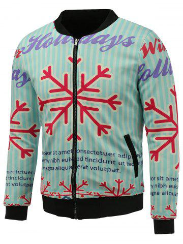 Outfits Stand Collar 3D Christmas Snowflake Print Zip Up Padded Jacket BLUE 5XL