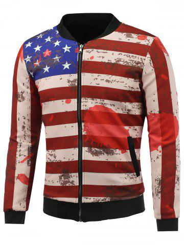 Buy Splatter Paint Distressed American Flag Print Padded Jacket COLORMIX 5XL