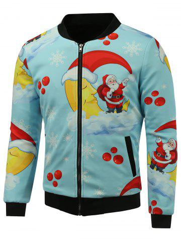 Shop Stand Collar 3D Father Christmas Print Zip Up Padded Jacket SKY BLUE 5XL