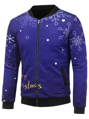 Buy Stand Collar 3D Christmas Snowflake Printed Zip Up Padded Jacket DEEP PURPLE 5XL