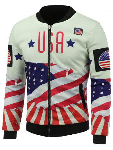 Shop Stand Collar 3D USA Stars and Stripes Print Zip Up Padded Jacket COLORMIX 5XL