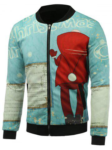 Cheap Stand Collar 3D Christmas Cartoon and Snowflake Print Padded Jacket