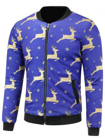 Cheap Stand Collar 3D Christmas Reindeer and Snowflake Print Padded Jacket BLUE VIOLET 5XL