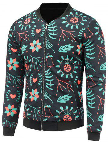 Discount Stand Collar 3D Christmas Floral Print Padded Jacket BLACK 5XL