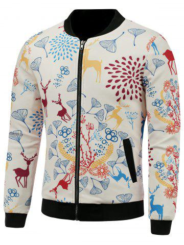 Latest Stand Collar 3D Reindeer and Floral Cartoon Print Padded Jacket