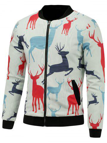Discount Stand Collar 3D Reindeer Print Padded Jacket WHITE 5XL
