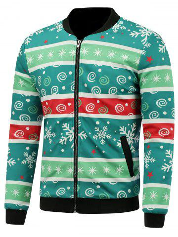 Stand Collar 3D Christmas Stripe and Snowflake Print Padded Jacket - GREEN 5XL