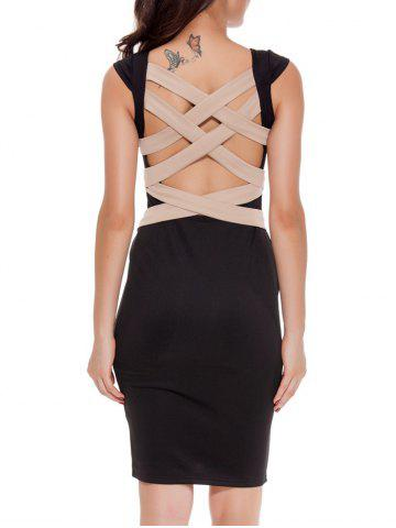 Chic Sleeveless Criss Cross Bandage Bodycon Cocktail Dress BLACK XL