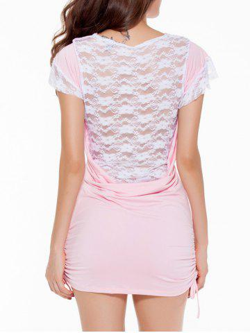 Shops Cowl Neck Lace Spliced Mini Bodycon Dress