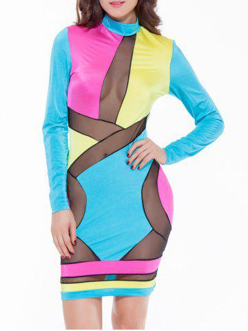 Online Colorful Patchwork Mesh See-Through Bodycon Dress