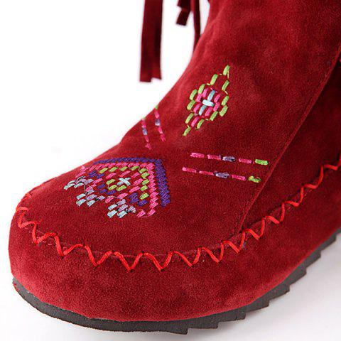 New Embroidered Mid Calf Fringe Boots - 39 RED Mobile