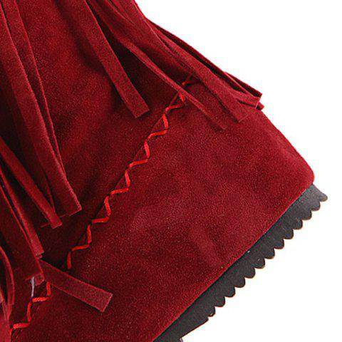 Fashion Embroidered Mid Calf Fringe Boots - 39 RED Mobile