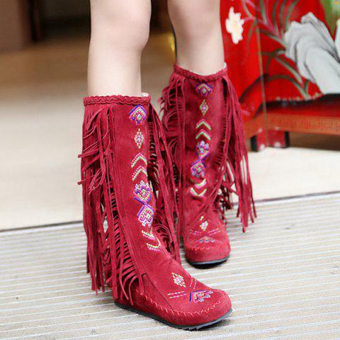 Discount Embroidered Mid Calf Fringe Boots
