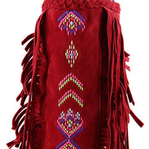 Cheap Embroidered Mid Calf Fringe Boots - 39 RED Mobile